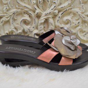 Donald J Pliner Leather Floral Wedge Slide Sandal